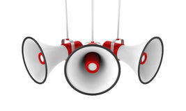 Red Megaphones Isolated Stock Images