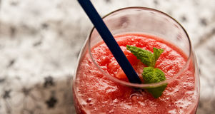 Red melon slushy drink Stock Photo
