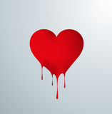 Red melting heart with drops. Stock Photo