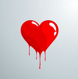Red melting heart with drops. Painted red heart melting in drops royalty free illustration