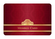 Red member card with classic vintage pattern and g Royalty Free Stock Photos