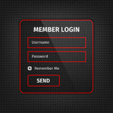 red member login ui on black background Royalty Free Stock Images