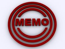 Red memo in circles graphic. 3D illustration of the word MEMO in red circles on a white background stock illustration