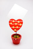 Red memo holder - heart Stock Images