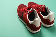 Red men`s sneakers stock photography