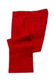 Red mens trousers. Red pants, trousers on white background Royalty Free Stock Photography