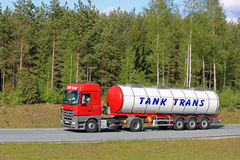 Red Mercedes-Benz Actros Semi Tank Truck on Freeway Royalty Free Stock Photo