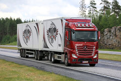 Red Mercedes-Benz Actros Truck Transport on Motorway Royalty Free Stock Images
