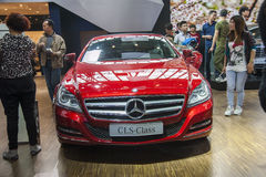 Red mercedes-benz cls-class car. New red mercedes-benz cls-class car in 2014 the 10th zhengzhou dahe spring international auto show.take from zhengzhou henan Stock Photo