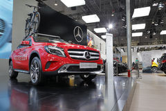Red mercedes-benz gla 220 4matic style car Stock Image