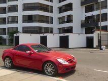 Red Mercedes-Benz SLK 350 coupe parked in Lima Royalty Free Stock Photos