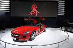 Red Mercedes-Benz SLS AMG car Royalty Free Stock Photos