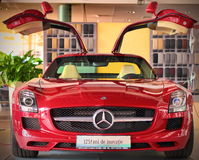 Red Mercedes-Benz SLS AMG. Close-up on new Mercedes-Benz SLS AMG Stock Photo