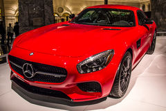Red Mercedes car on luxury car show Royalty Free Stock Images