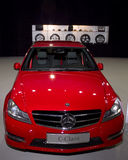 Red car AMG Mercedes C-class rims options Stock Photos