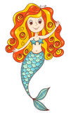 Red mermaid  isolated on white Royalty Free Stock Photos