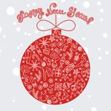 Red merry christmas ball with celebratory elements Stock Image
