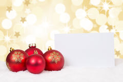 Red Merry Christmas balls card stars wishes copyspace Royalty Free Stock Images