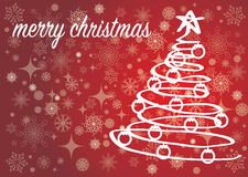 Red Merry Christmas card with Christmas tree Stock Photography
