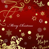 Red Merry Christmas card with gold glittering design effects. Stock Photography