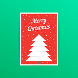 Red merry christmas card with snowfall Royalty Free Stock Photo