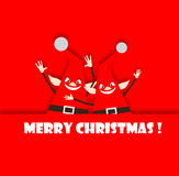 Red Merry Christmas Elves Waving Stock Images