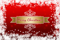Red Merry Christmas greeting card with white snowflakes Stock Photography