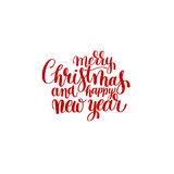 Red Merry Christmas and Happy New Year calligraphic  Stock Photography
