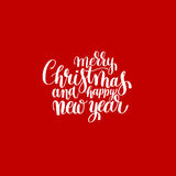 Red Merry Christmas and Happy New Year calligraphic Stock Photos