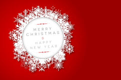 Red Merry Christmas and Happy New Year card Royalty Free Stock Image