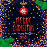 Red Merry Christmas And Happy New Year 2018. confetti color vector illustration. Art Stock Photography