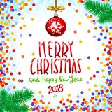 Red Merry Christmas And Happy New Year 2018. confetti color vector illustration. Art Royalty Free Stock Images