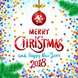 Red Merry Christmas And Happy New Year 2018. confetti color vector illustration. Art Royalty Free Stock Photos