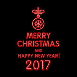 Red merry Christmas and happy new year 2017 neon, light color toy Stock Images