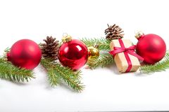 Red merry christmas ornaments and xmas tree on white Stock Images