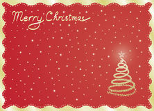 Red Merry Christmas postcard Stock Photos