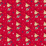 Red Merry Christmas Seamless Pattern Background. With Cute Deers, Christmas Tree Toys and Stars. Cute New Years Xmas Gift Wrapping Paper Royalty Free Stock Photo