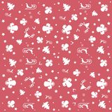 Red Merry Christmas wallpaper with angels, stars and Christmas pattern: white trees, angels, sleighs and stars. Christmas pattern: white trees, angels, rein deer Royalty Free Stock Photography