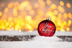 Red merry christmas xmas bauble ball Royalty Free Stock Photography