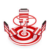 Red Merry-go-round  over white. With spiral Stock Photo