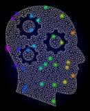 Red Mesh Brain Gears del vector con los puntos coloreados espectro del resplandor ilustración del vector