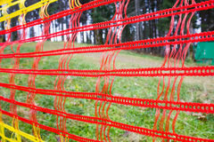 Red mesh hanging in the park Stock Photo