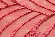 Red mesh lace material texture macro shot Royalty Free Stock Images