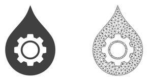 Red Mesh Oil Industry Gear del vector e icono plano ilustración del vector