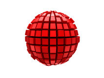 Red metal 3d sphere. Red metal sphere 3d render Stock Image