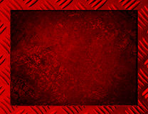 Red Metal background or frame. Of brushed steel plate Royalty Free Stock Photography