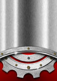 Red and Metal Background with Gear Royalty Free Stock Photos