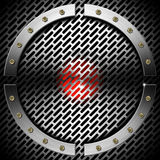 Red and Metal Background with Grid and Circle. Red and metal business background with grid, hexagons, circle and bolts Royalty Free Stock Photos