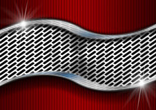 Red and Metal Background with Grid Royalty Free Stock Image