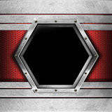 Red and Metal Background with Hexagon Stock Image